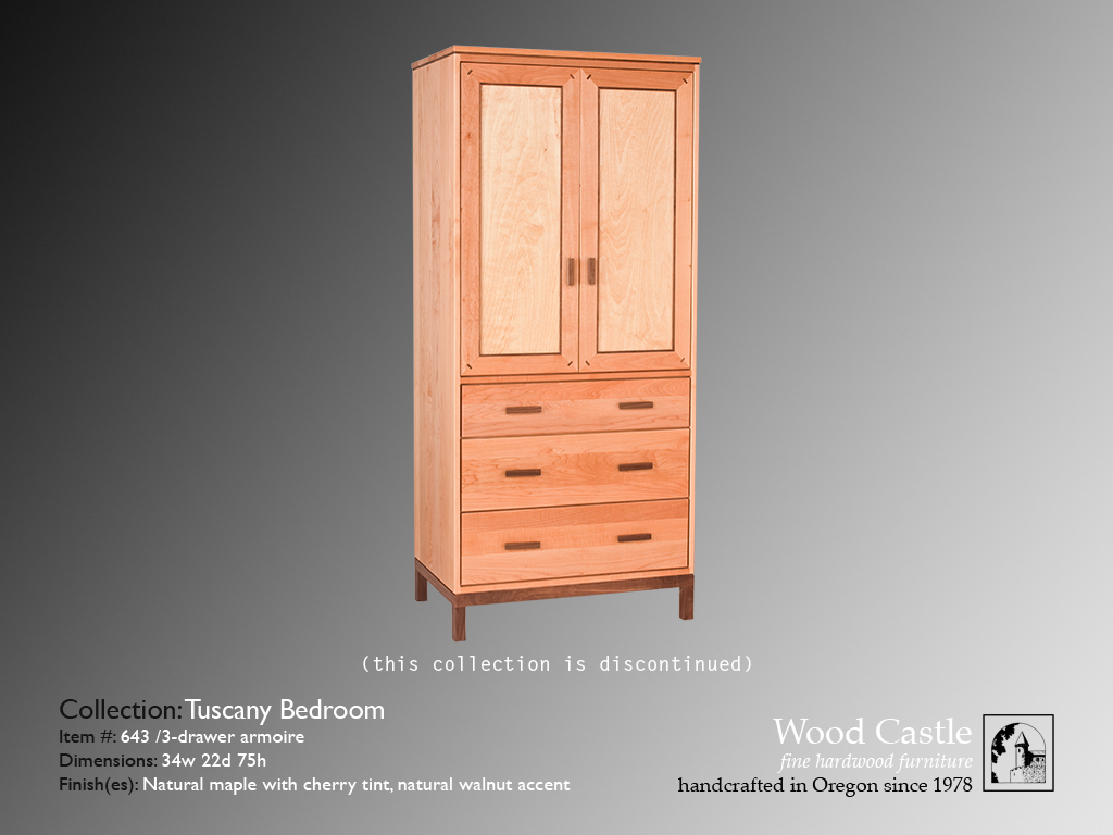 Tuscany maple 643 3-drawer armoire