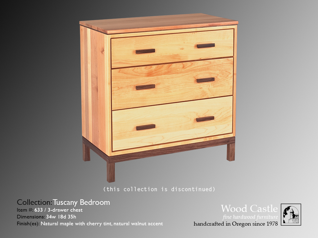 Tuscany maple 633 3-drawer chest