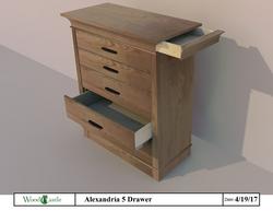 Alexandria 5 Drawer - Ash