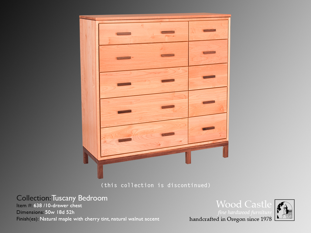 Tuscany maple 638 10-drawer chest
