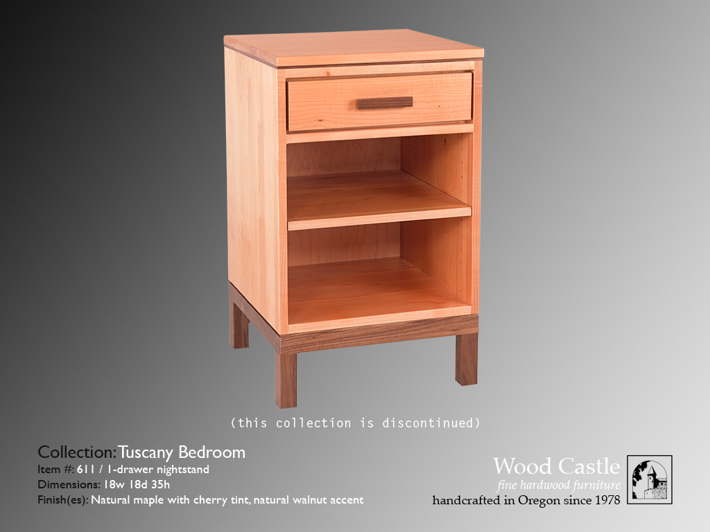 Tuscany maple 611 1-drawer nightstand