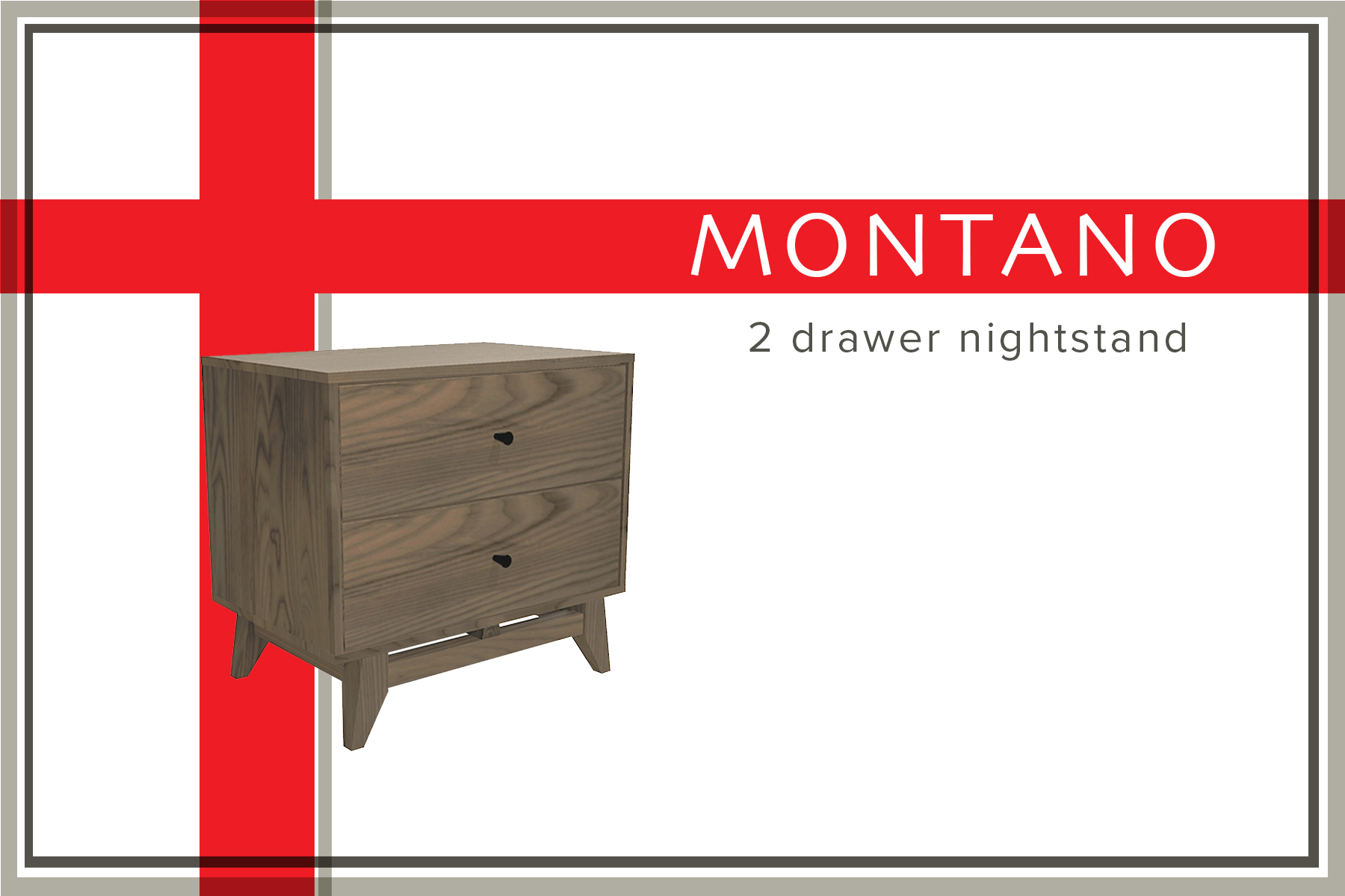 Montano 2 drawer nightstand