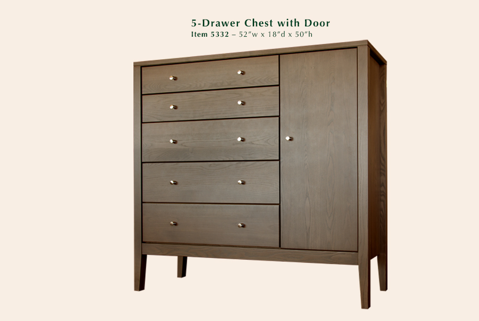 Calvin 5 Drawer Chest with Door