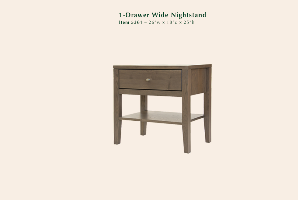 Calvin Wide 1 Drawer Nightstand