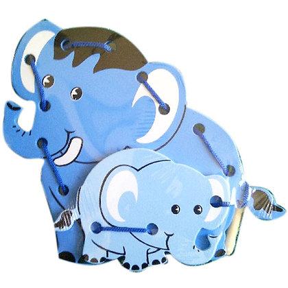 Menjahit Kayu 3D Elephant Biru F0808