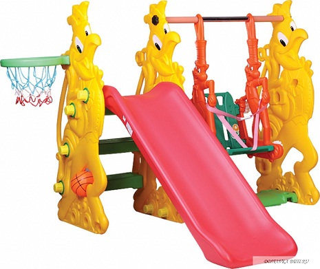 Rooster slide with rabbit swing