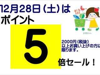 12月28日(土)はポイント5倍セール!まとめ買いのチャンス!
