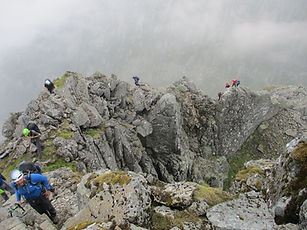 People on ledge Route, Ben Nevis