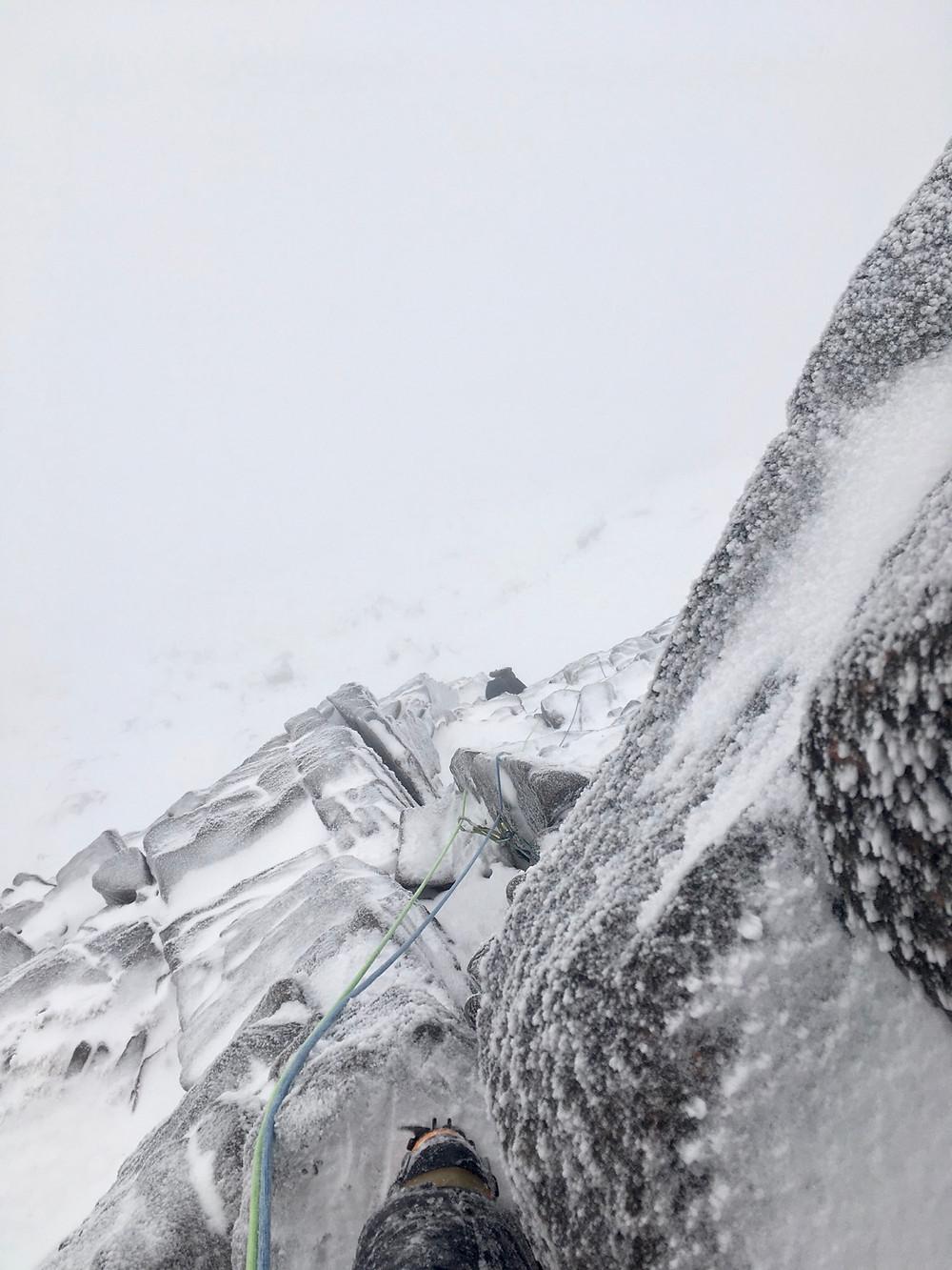 Winter climbing Pygmy ridge, Cairngorm national park