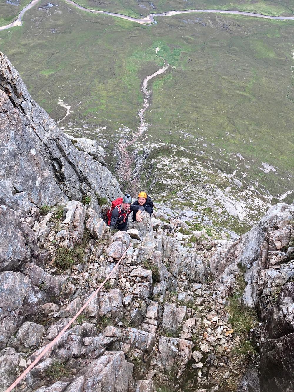 North Buttress climbing, Buachaille Etive Mor, Glencoe