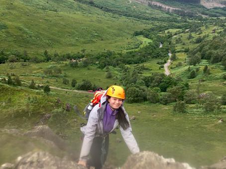 Family rock climbing in  Glen Nevis