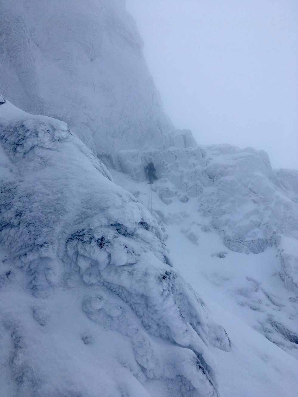 Winter climbing on Number 3 gully buttress on Ben Nevis north face