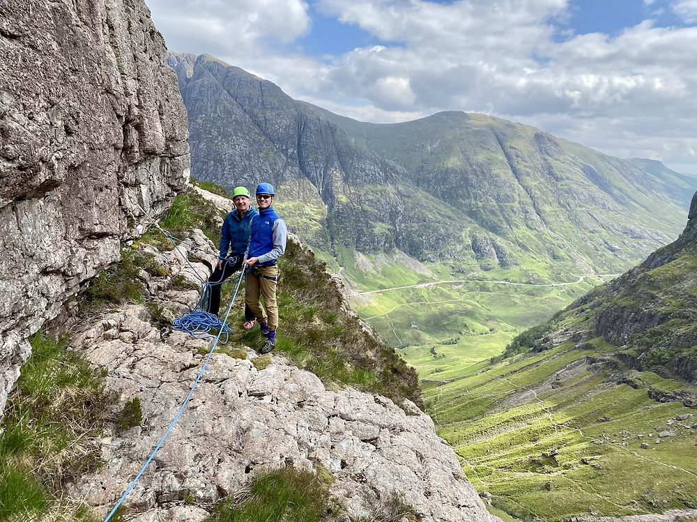 Glencoe climbing, The Bowstring with Aonach Eagach in the background