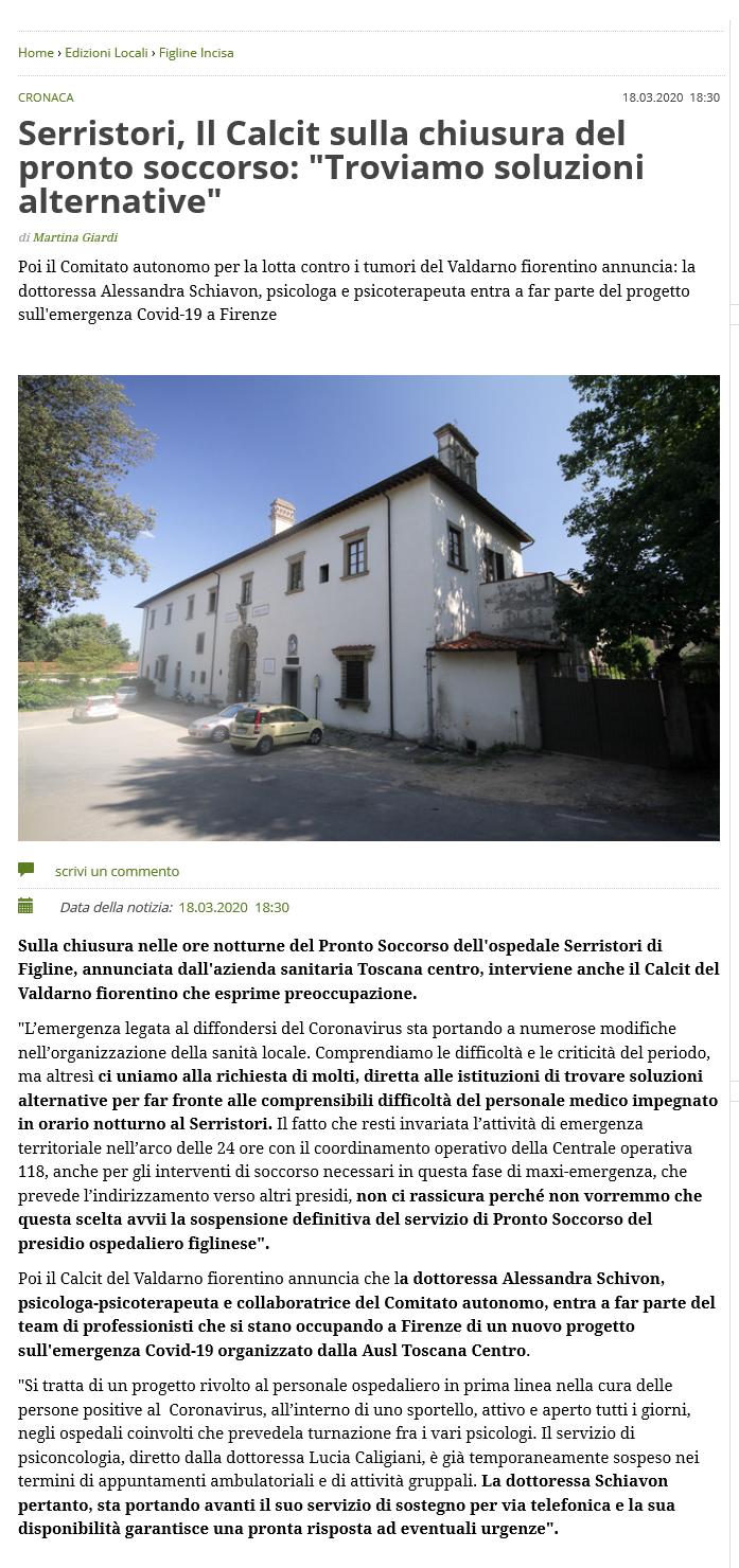 Calcit Valdarno Fiorentino per l'Emergenza Covid19