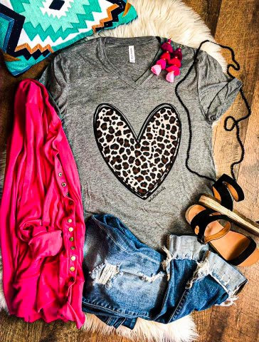 Leopard Heart - Grey