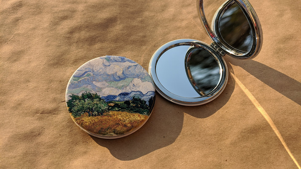 Mirror Compact | Van Gogh • Wheat Field with Cypresses