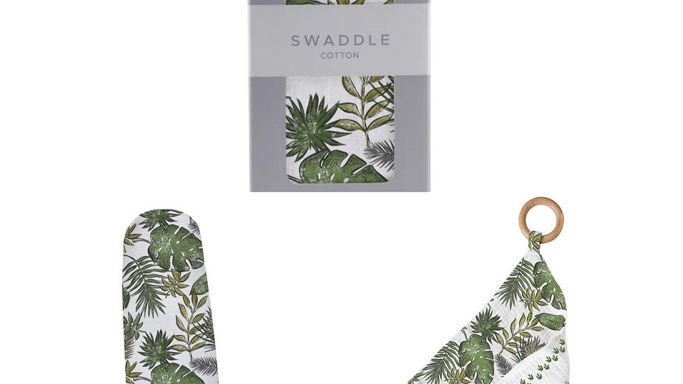 Cotton Muslin Swaddle + Beachwood Teether Set | Jurassic Forest