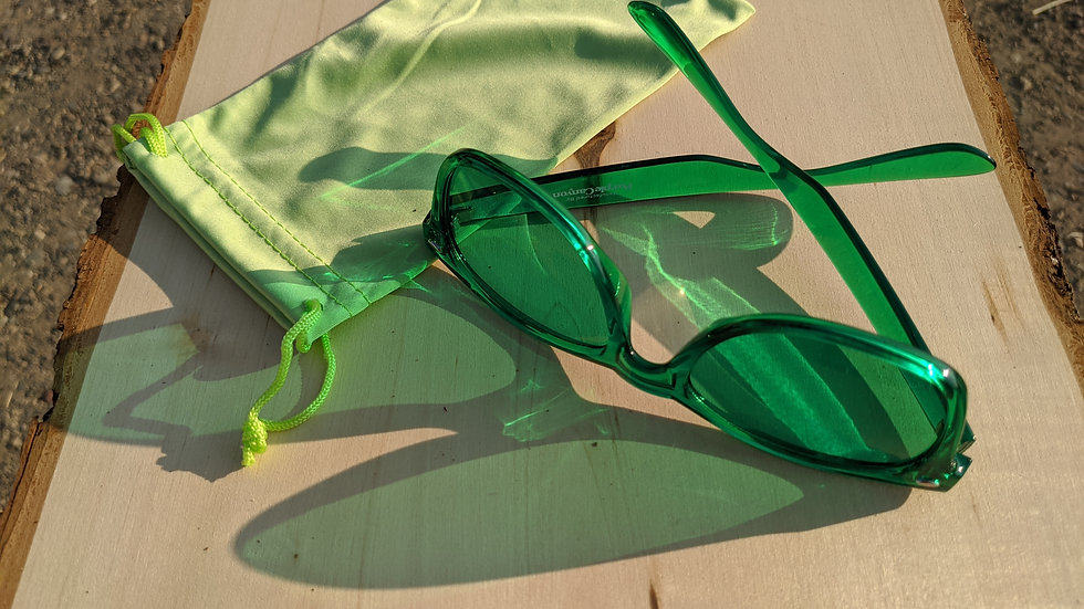 Chromotherapy Glasses in Green (Calm) with Green Soft Pouch