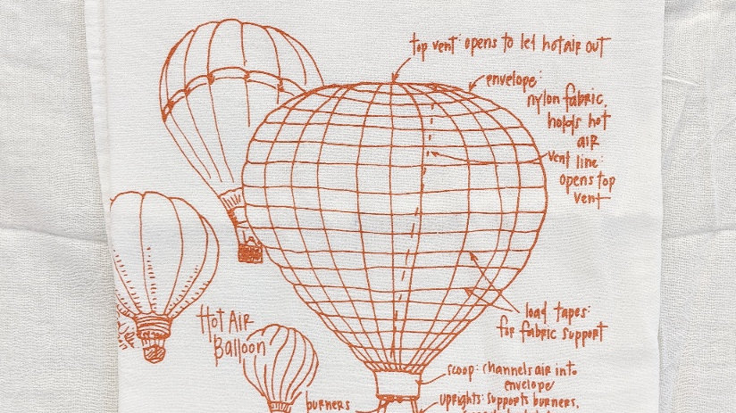 Tea Towel by Girls Can Tell | Hot Air Balloon Print