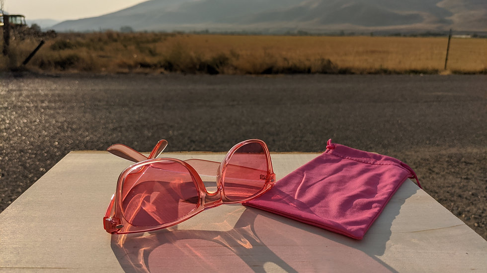Chromotherapy Glasses in Rose (Love) with Rose Soft Pouch