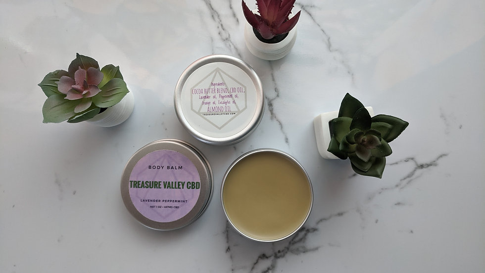 CBD Body Balm   Lavender + Peppermint • 1 oz Tin (467mg CBD)