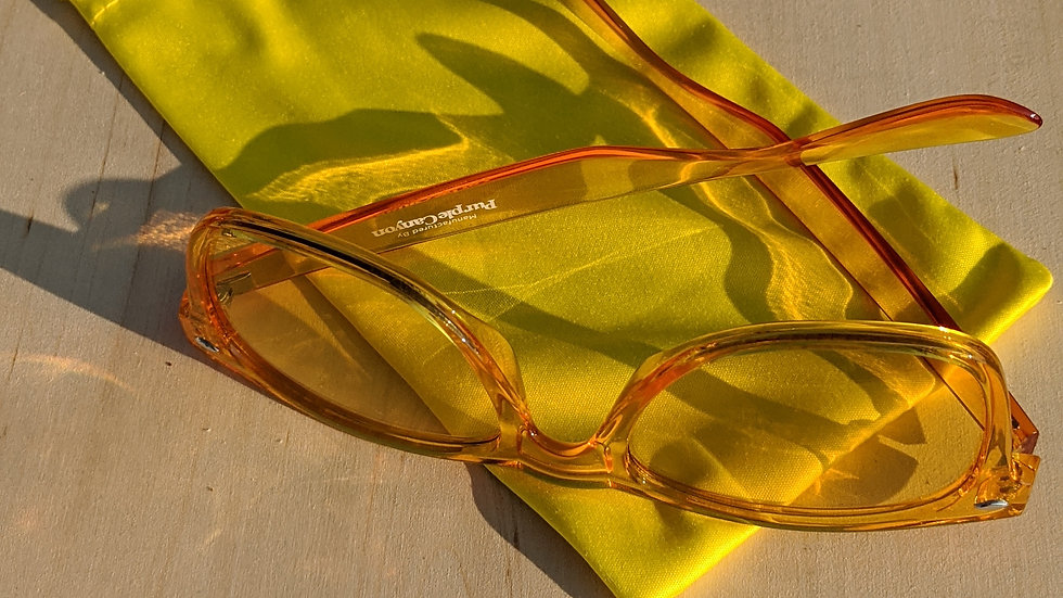 Chromotherapy Glasses in Yellow (Happiness) with Yellow Soft Pouch