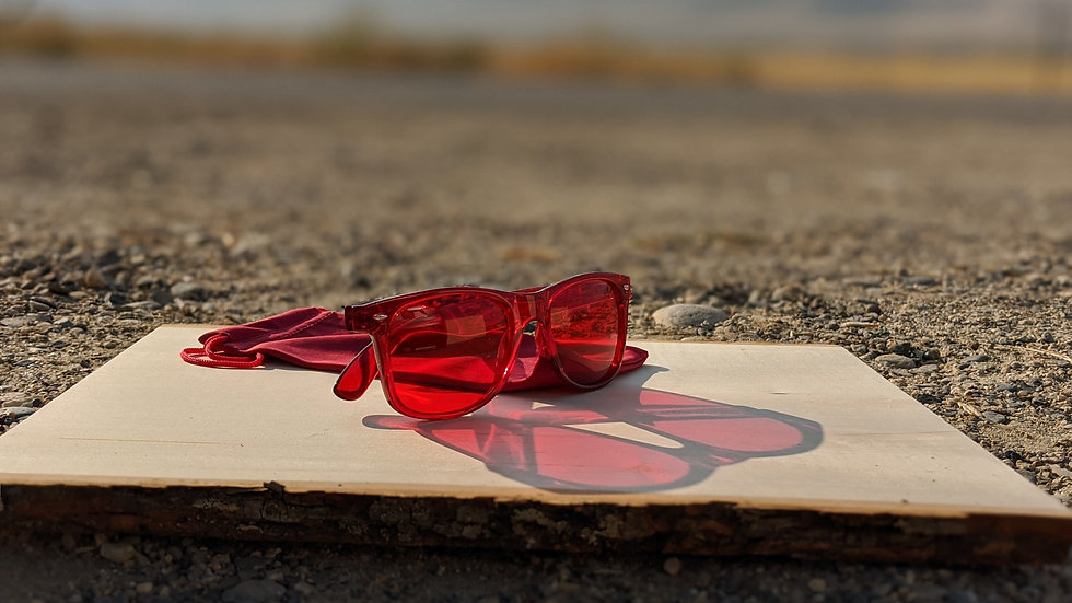 Chromotherapy Glasses in Red (Strong) with Red Soft Pouch