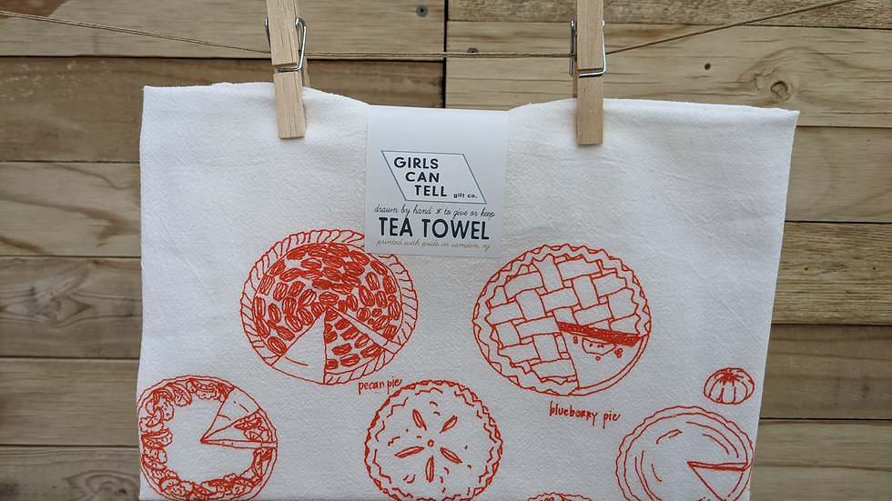 Tea Towel by Girls Can Tell | Orange Pies Print
