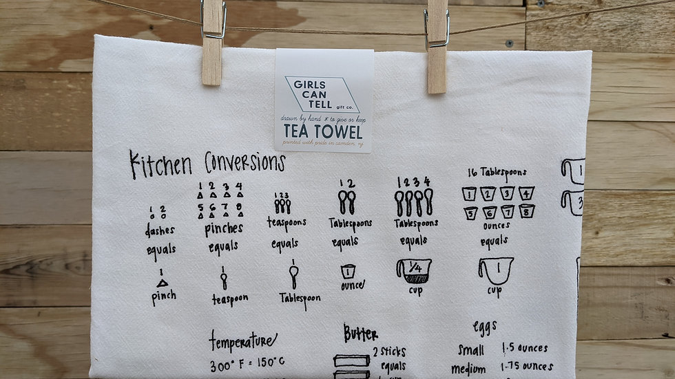 Tea Towel by Girls Can Tell | Black Kitchen Measurements Print