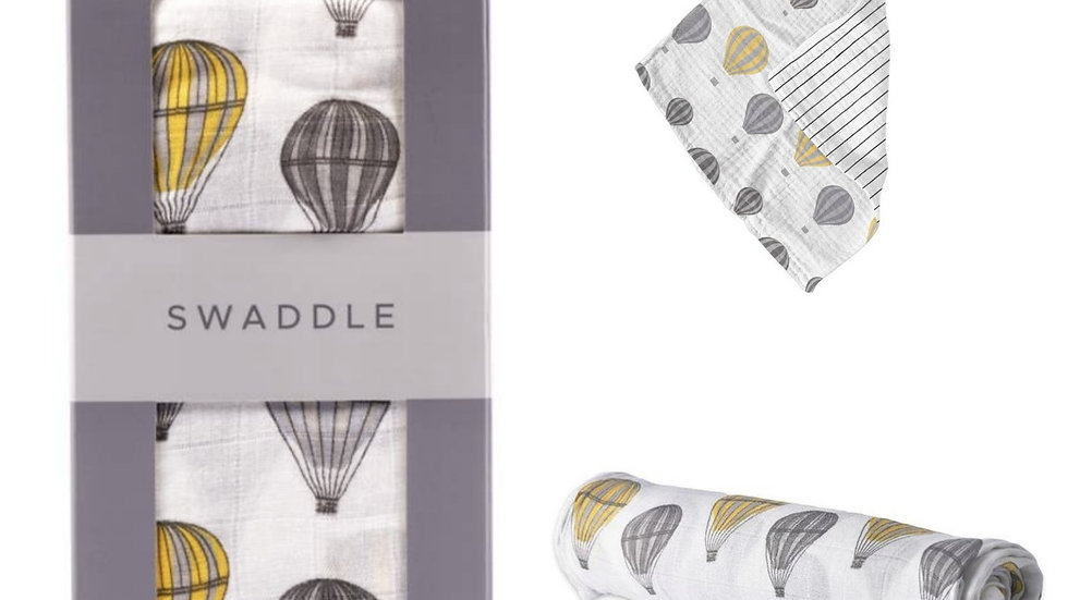 Bamboo Muslin Swaddle+ Beachwood Teether Set   Hot Air Balloon