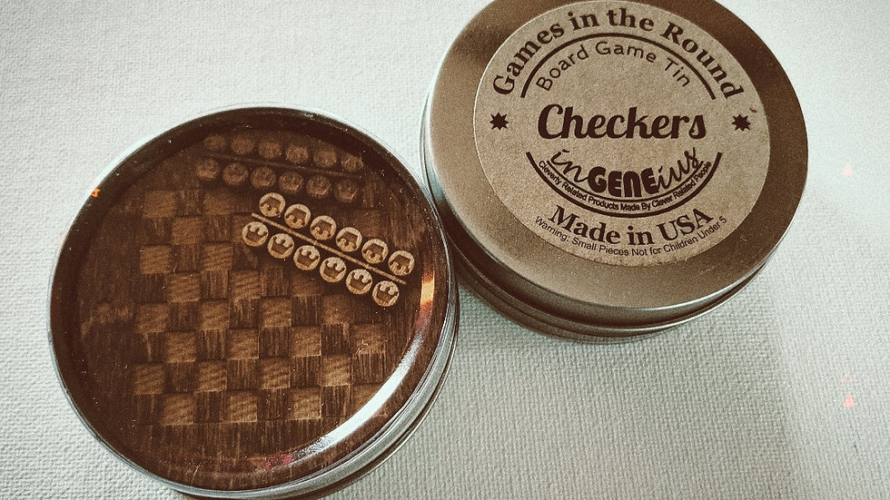 Games | Wooden Checkers in a Tin