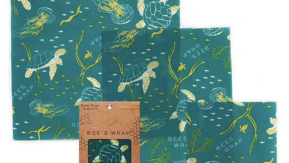 Bee's Wrap | 3 Pack in Ocean Print