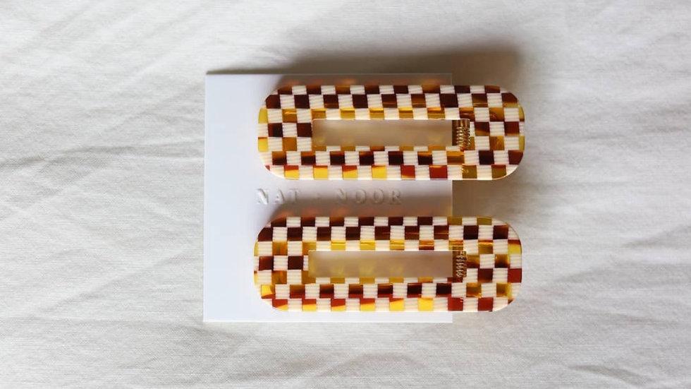 Nat+Noor Checkered Hair Clip Duo