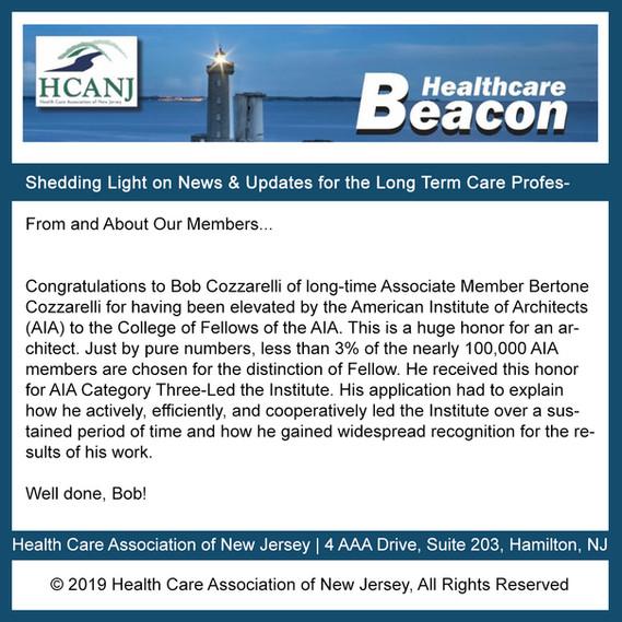 The Health Care Association of New Jersey Recognizes                     Robert Cozzarelli, FAIA