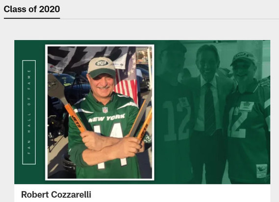 Robert Cozzarelli Inducted into The NY Jets Fan Hall Of Fame