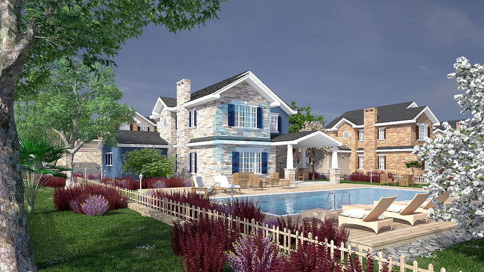 Sea view villas for sale in Istanbul inside a luxurious compound