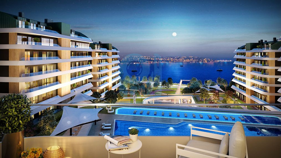 Sea view apartments for sale in Istanbul with full facilities Compound