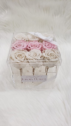 Forever in Love - 9 Eternity Roses - White and Pink