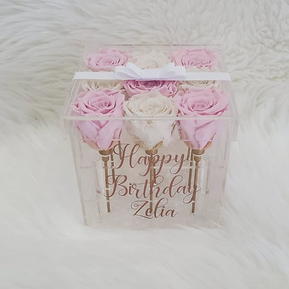 Forever in Love - 9 Eternity Roses - Pink and Cream White