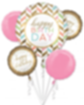 Bouquet of Happy Birthday Balloons in Pink and Gold