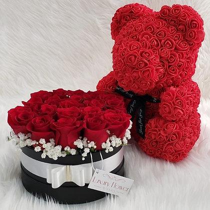 Box of 23 Fresh Roses & 40cm Flower Bear