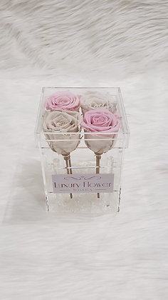 All My Love - 4 Eternity Roses - Pink & White