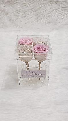 All My Love - 4 Eternity Roses - Pink & Cream White