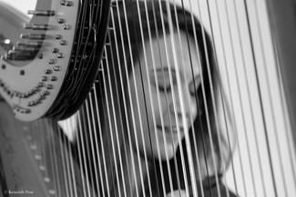 Christine playing harp