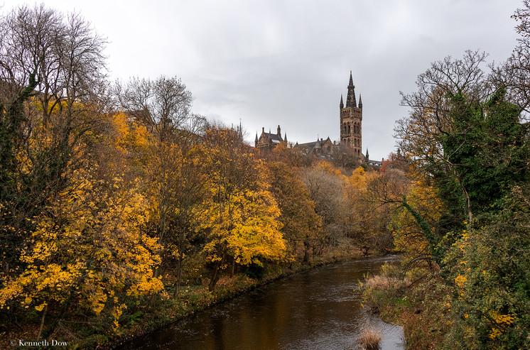 Glasgow University from Kelvingrove Park