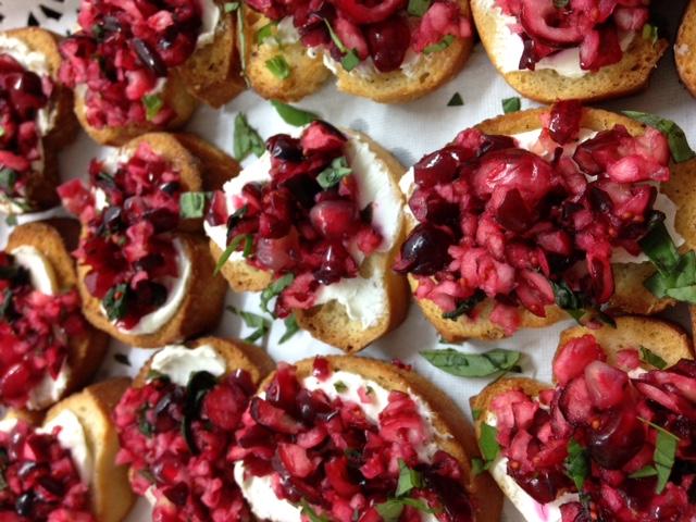 Bruschetta; cranberry & pomegranate