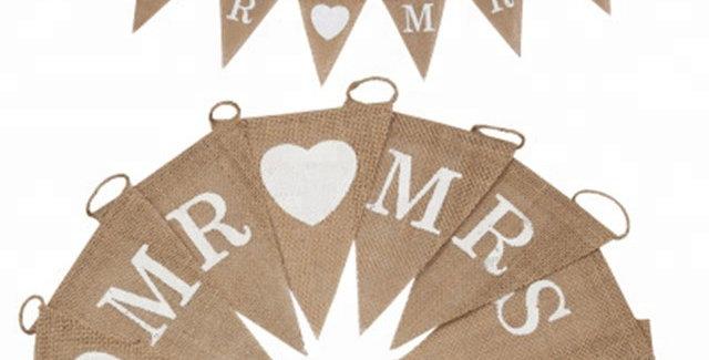 TBS Accessories- Mr Mrs Triangle  Burlap Banner