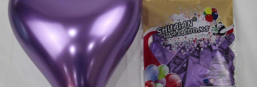 """TBS Latex-10"""" Purple Heart Chrome Balloon 20pcs/pack"""