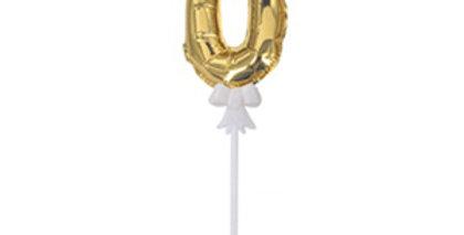 """TBS Foil - 5"""" Number Cake Topper Gold 0"""