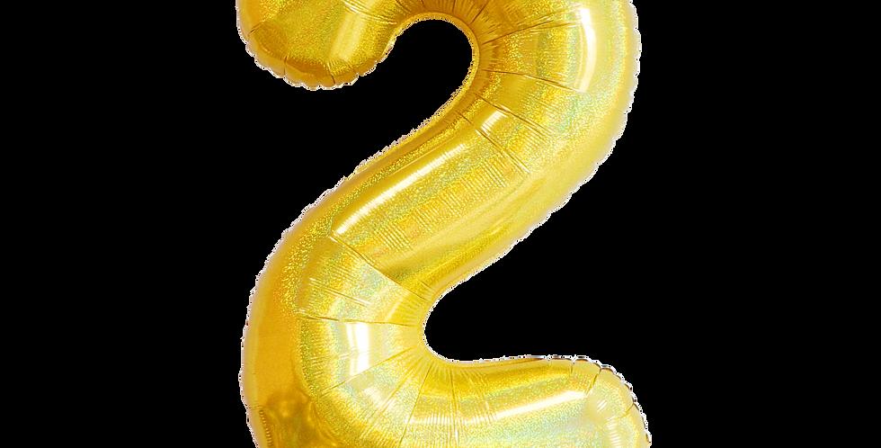 """Foil - 40"""" Number Foil Gold Balloon2"""